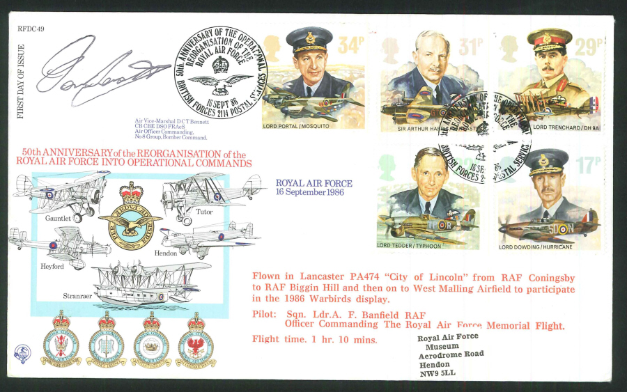1986 - 50th Anniversary of Reorganisation of RAF Operational Commands FDC -BF2114PS Pmk-Signed