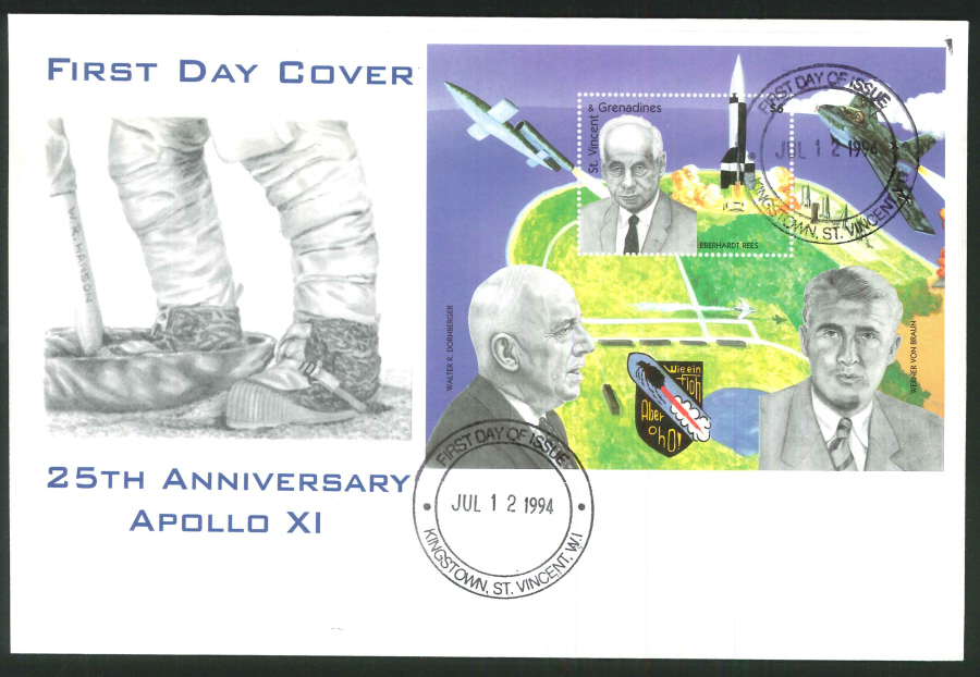 1994 - 25th Anniversary Apollo XI First Day Cover - St.Vincent Postmark