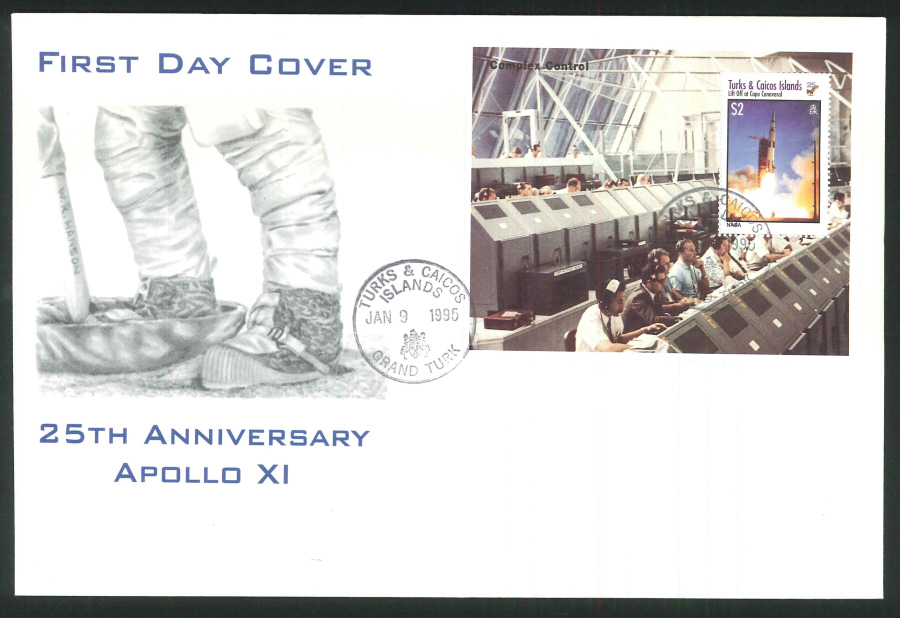 1995 - 25th Anniversary Apollo XI First Day Cover - Turks & Caicos Postmark