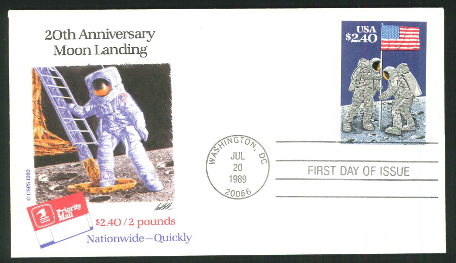 1989 - 20th Anniversary First Moon Landing, First Day Cover - Washigton DC Postmark