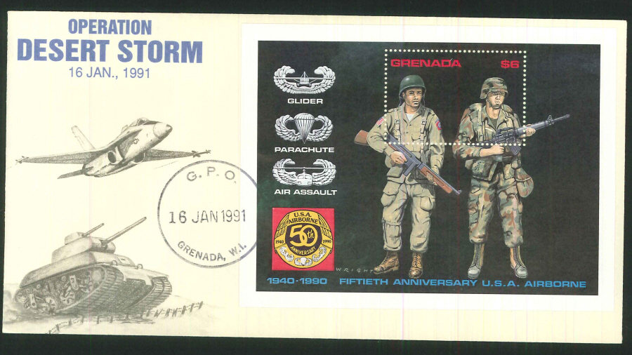 1991 - Operation Desert Storm Commemorative Cover- Grenada Postmark