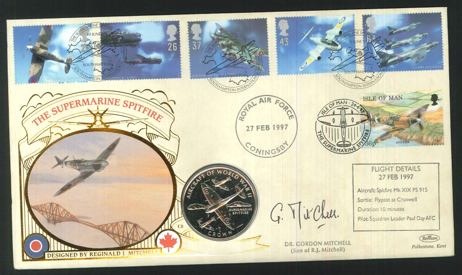 1997 - Architects of the Air Coin First Day Cover - RAF Coningsby, Southampton and Isle of Man Postmarks -Signed
