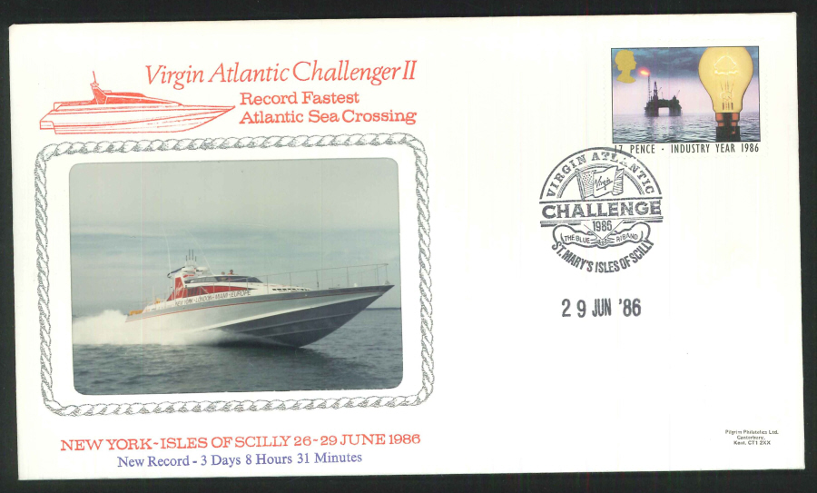 1986 - Virgin Atlantic Challenger II Commemorative Cover - St Mary's Isles of Scilly Postmark
