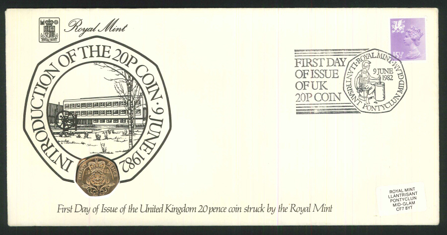 1982 - First Day of 20p Coin Cover - 20p Coin & Llantrisant Postmark
