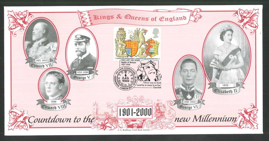 1999 - Countdown to the new Millennium - Kings & Queens of England Commemorative Cover - 100 Days Greenwich Postmark