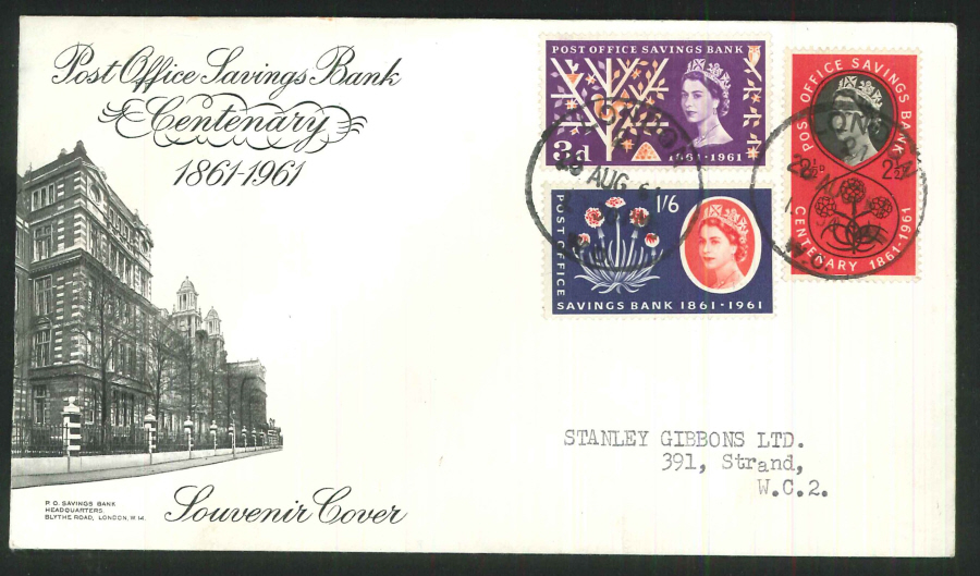 1961 - Post Office Savings Bank Centenary First Day Cover - London WC Postmark, Addressed to Stanley Gibbons