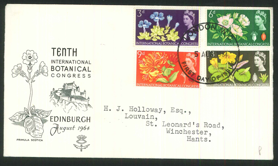 1964 - Botanical Congress First Day Cover (Phosphor) - London WC Postmark