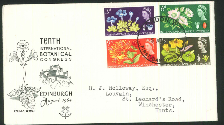 1964 - Botanical Congress First Day Cover (Ordinary) - London WC Postmark