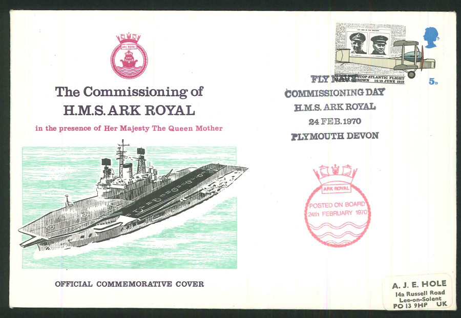 1970 - Commissioning of HMS Ark Royal Commemorative Cover - HMS Ark Royal, Plymouth Postmark