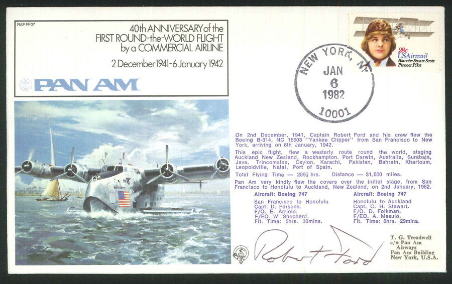 1982 - 40th Anniv. First Round the World Flight Commemorative Cover - New York Postmark - Signed