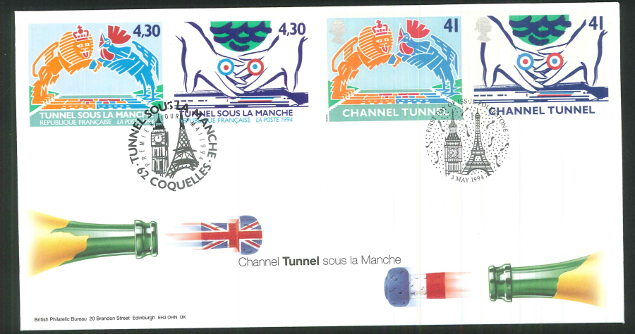 1994 - Channel Tunnel Pair of First Day Covers - Folkestone/Coquelles Postmarks