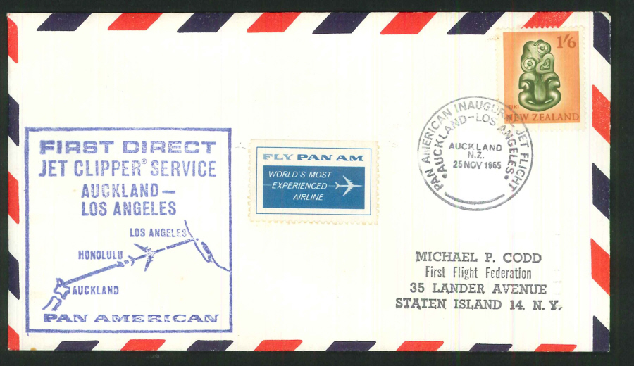 1965 - Inaugural Jet Flight Auckland to Los Angeles Commemorative Cover- Auckland Postmark