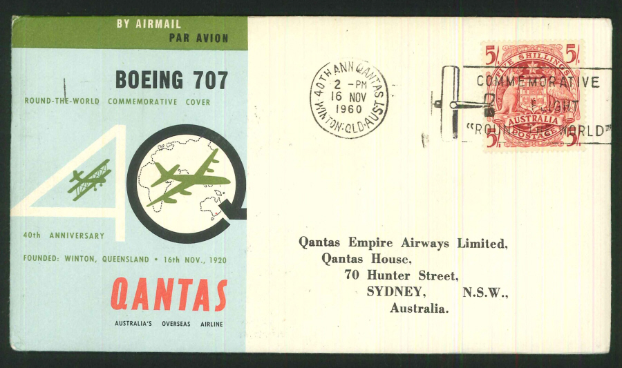 1960 - 40th Anniversary Qantas Commemorative Cover- Winton, Queensland Postmark