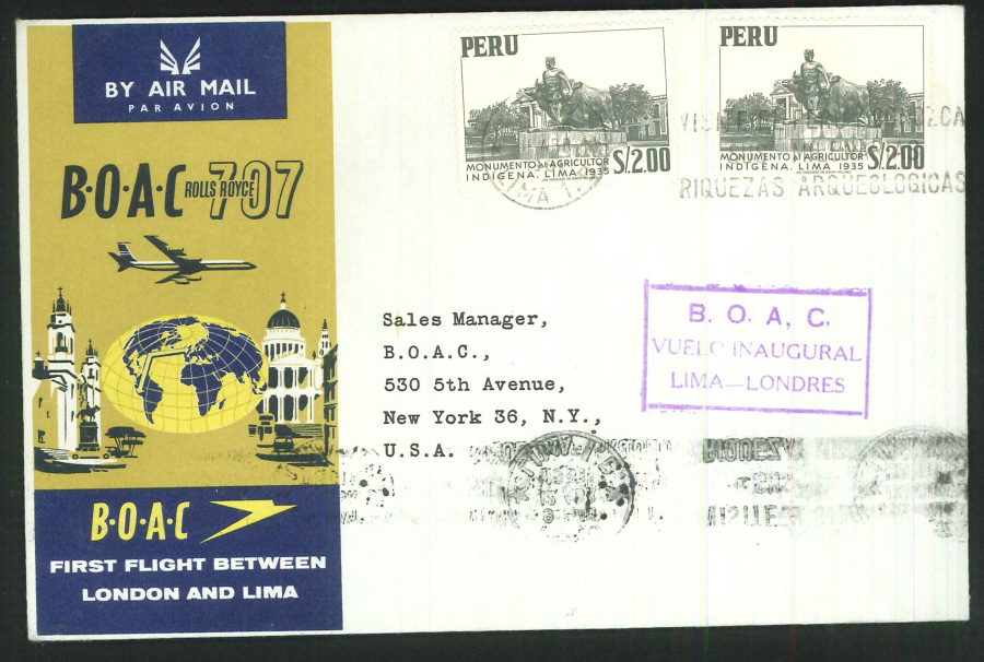 1961 - First Flight London & Lima Commemorative Cover - Lima, Peru Postmark