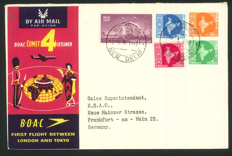 1959 - First Flight London & Tokyo Commemorative Cover - New Delhi Postmark