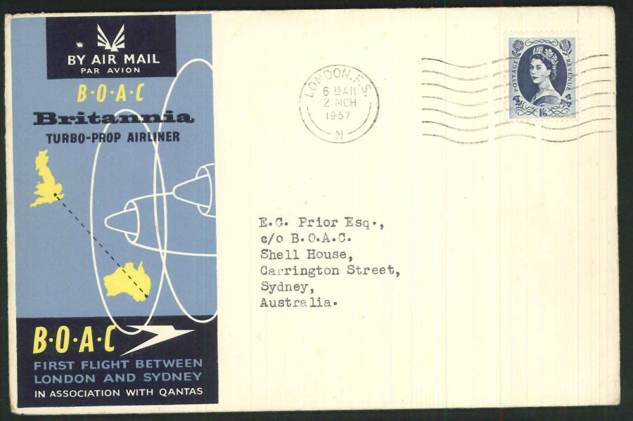 1957 - First Flight London & Sydney (Turbo Prop) Commemorative Cover- London Postmark