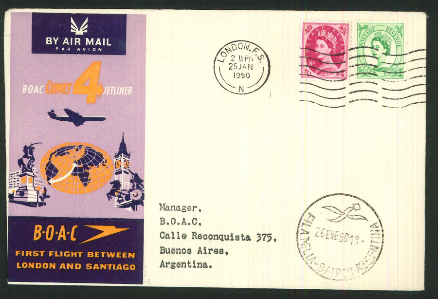 1960 - First Flight London & Santiago Commemorative Cover - London Postmark