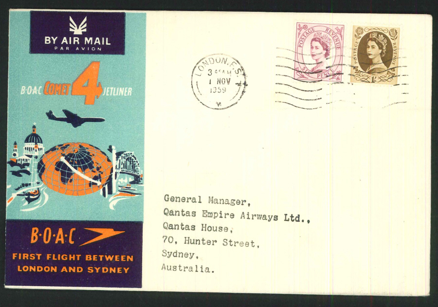 1959 - First Flight London & Sydney (Comet) Commemorative Cover - London Postmark