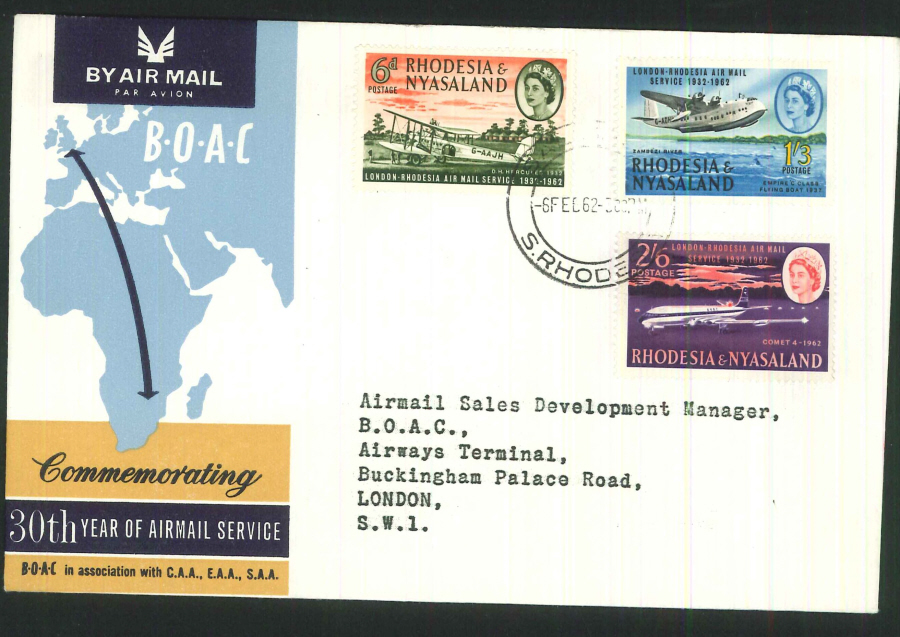 1962 - 30th Year of Airmail Commemorative Cover - Rhodesia Postmark