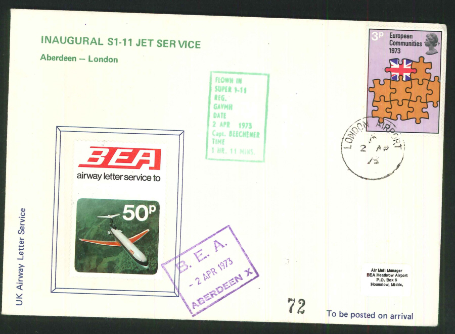 1973 - Inaugural S1-11 Jet Service Commemorative - London Airport & Aberdeen Postmarks