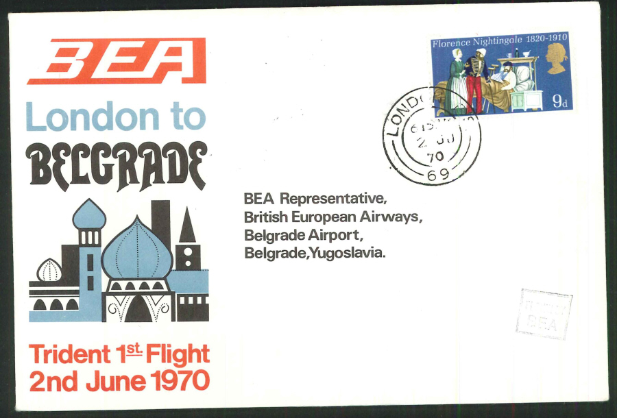 1970 - First Trident Flight London to Belgrade Commemorative Cover - London Postmark