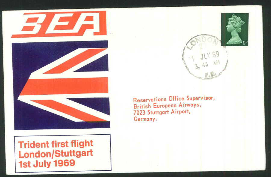 1969 - First Trident Flight London to Stuttgart Commemorative Cover- London Postmark