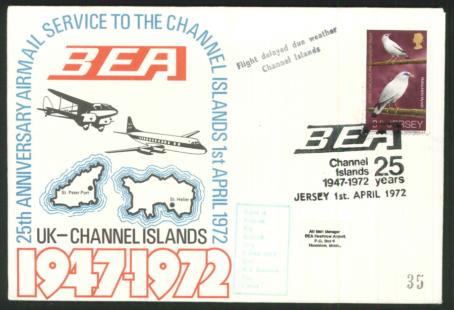 1972 - 25th Anniv. Airmail Service to Chanel Islands Commemorative Cover - Jersey Postmark