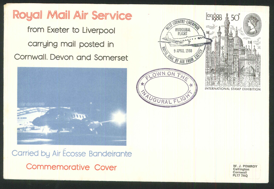 1980 - Inaugural Flight West Country to Liverpool Commemorative Cover - By Air from Exeter Postmark