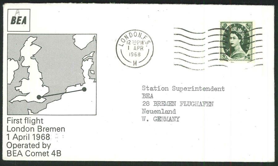 1968 - First Flight London to Bremen (BEA Comet 4B) Commemorative Cover - London Postmark