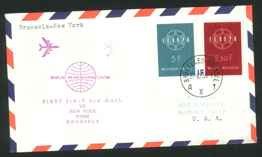 1959 - First Jet Mail Brussels to New York Commemorative Cover - Brussels Postmark