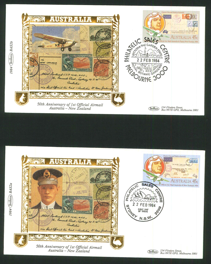 1984 - 50th Anniv. First Airmail Australia to N Z Pair of Commemorative Covers - Victoria Postmark