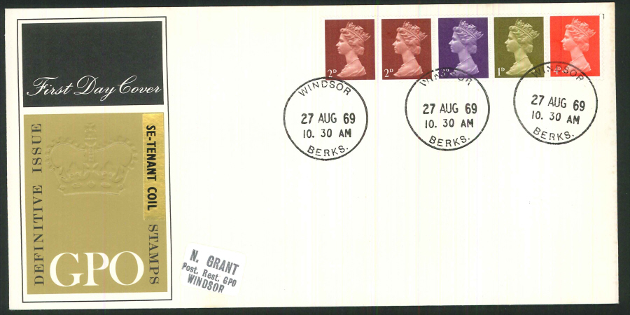 1969 - Definitive Se-Tenant Coil Stamps - Royal Mail First Day Cover - Windsor Postmark