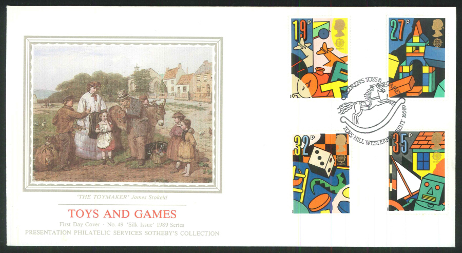 1989 - Toys and Games First Day Cover- Toys Hill, Westerham, Kent Postmark