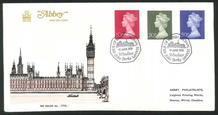 1970 - First British Decimal Stamps First Day Cover- Windsor Postmark