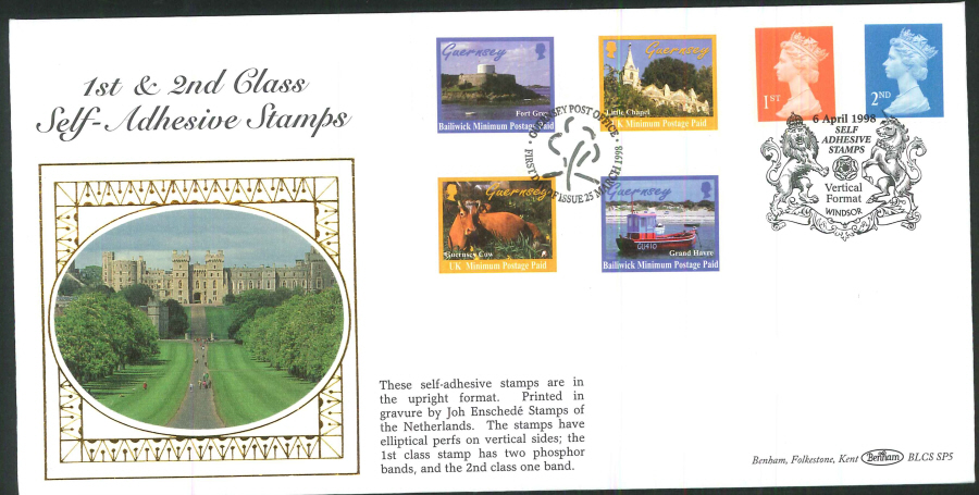 1998 - 1st & 2nd Self- Adhesive Stamps First Day Cover - Windsor & Guernsey Postmarks