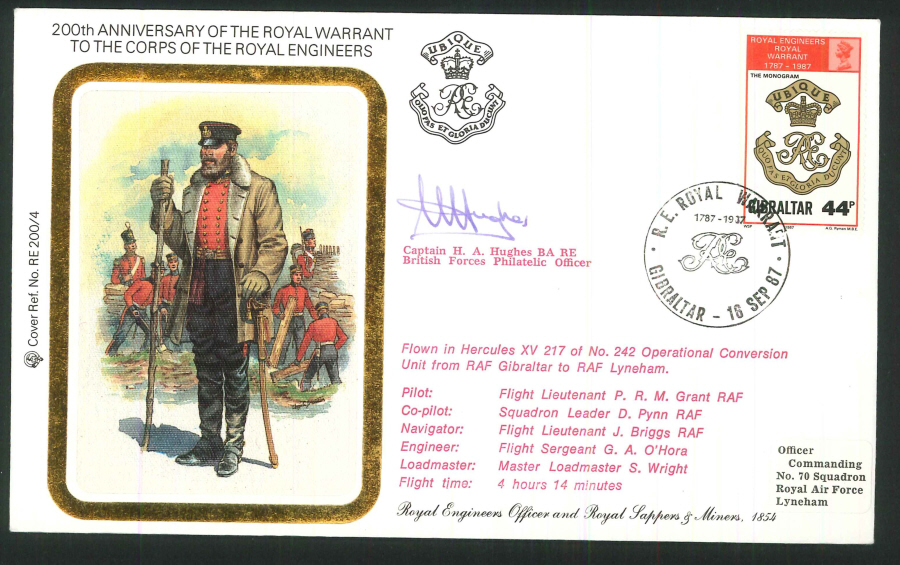 1987 - 200th Anniv.Royal Warrant Royal Engineers Commemorative Cover - Gibraltar Postmark - Signed