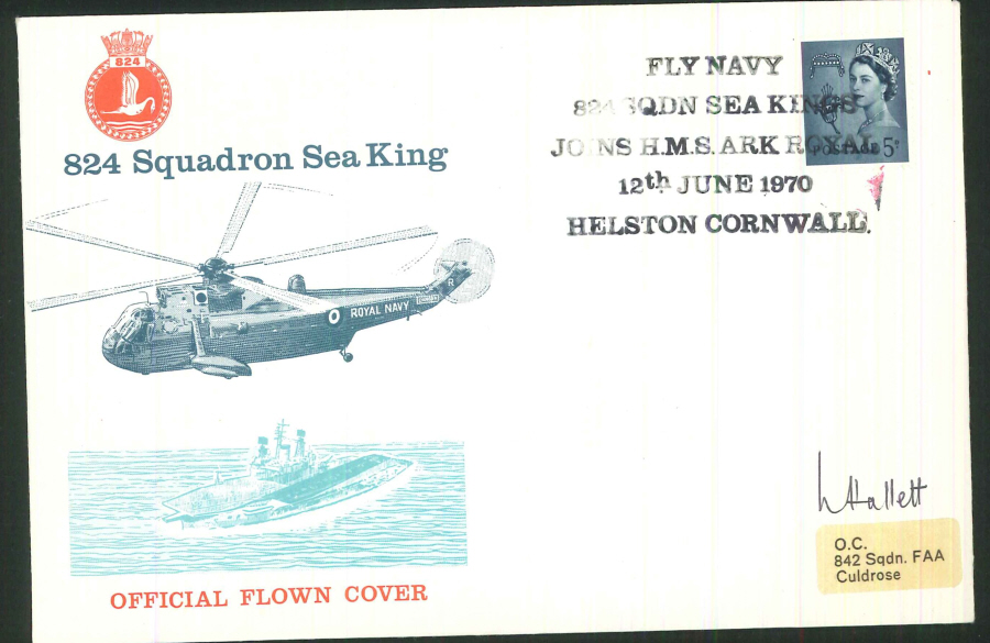 1970 - 824 Squadron Sea King Official Flown Cover - Helston Postmark - Signed