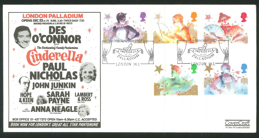 1985 - Christmas First Day Cover - Cinderella, at the Palladium, London W1 Postmark
