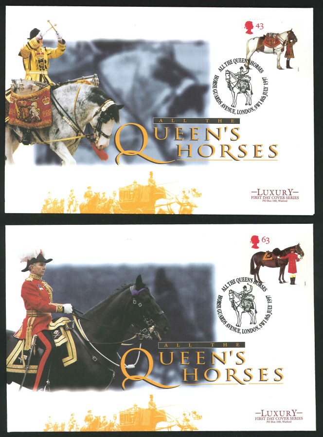 1997 - All the Queen's Horses Set of 4 First Day Covers - Horse Guards Avenue, SW1 Postmark