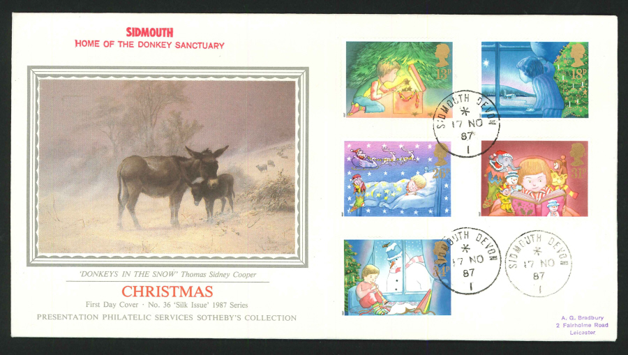 1987 - Christmas First Day Cover - CDS Sidmouth, Devon Postmark