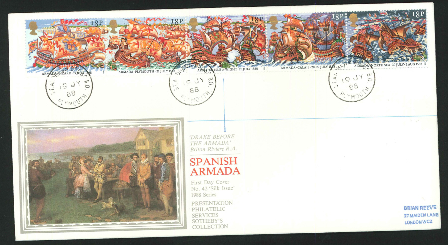 1988 - The Armada First Day Cover- CDS Plymouth Postmark