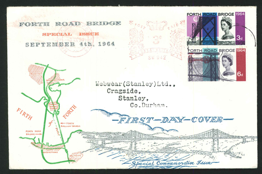 1964 - Forth Road Bridge First Day Cover, Meter Mark Postmark