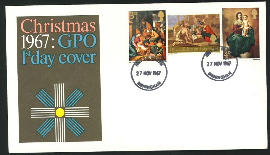 1967 - Christmas First Day Cover, Birmingham Postmark