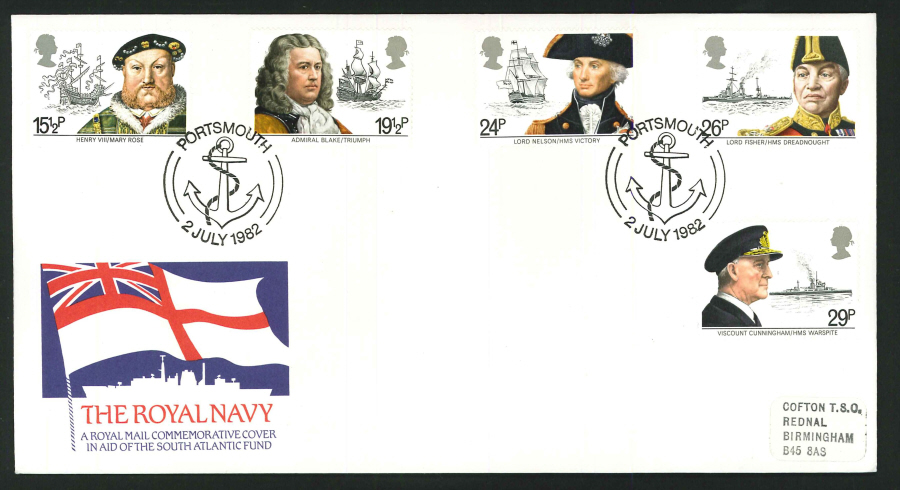1982 - Royal Navy Commemorative Cover - Portsmouth Postmark