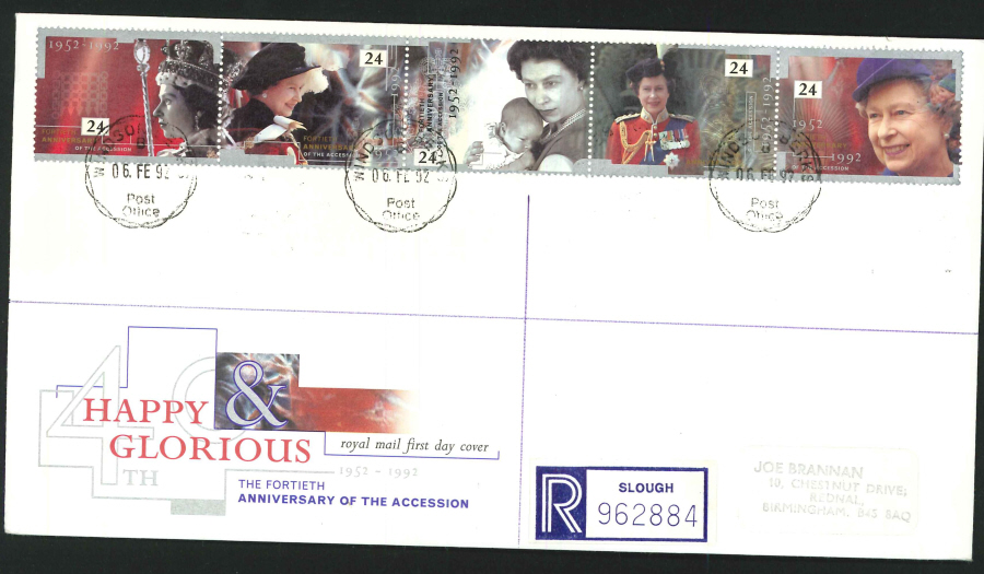1992 - Happy & Gloroius First Day Cover - CDS Windsor, Berks Postmark