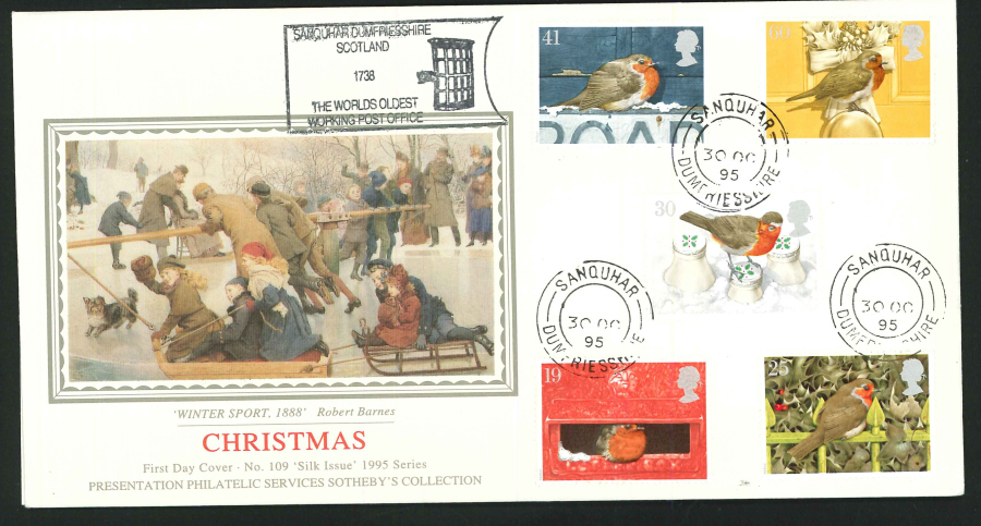 1995 - Christmas First Day Cover - CDS Sanquhar, Dumfriesshire Postmark