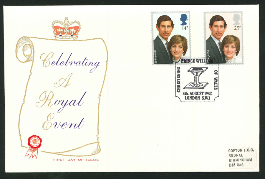 1982 - Celebrating A Royal Event Commemorative Cover - CDS Christening of Prince William, SW1 Postmark