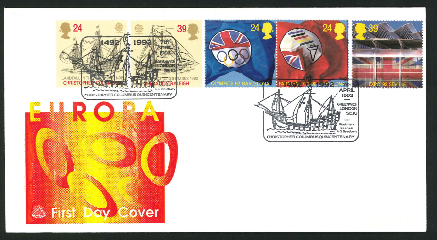 1992 - Europa First Day Cover - Columbus Quincentenary Postmark