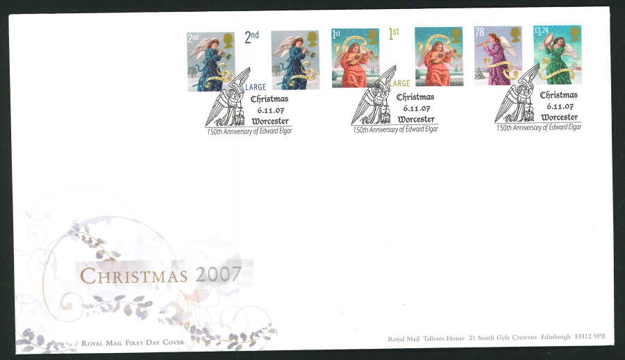 2007 - Christmas First Day Cover - Edgar Elgar, Worcestershire Postmark