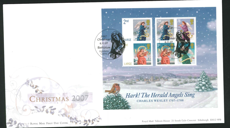 2007 - Christmas Mini Sheet First Day Cover - Bethlehem, Llandeilo Postmark
